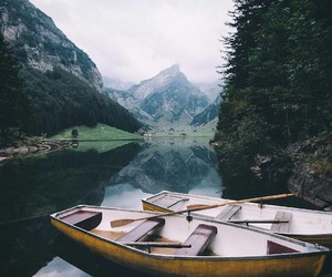 lake, boat, and landscape image