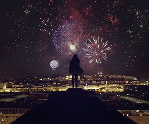beautiful, fireworks, and girl image