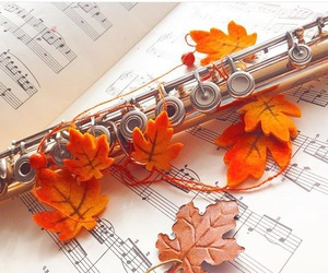 fall, flute, and leaves image