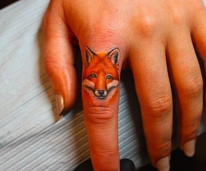 tattoo, fingers, and fox image