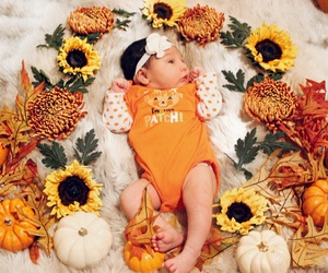 baby, baby girl, and fall image