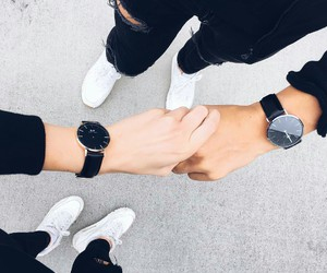 black&white, couple, and sneakers image