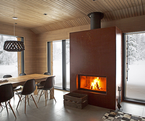 architecture, dining room, and fireplace image