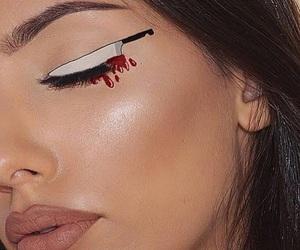 makeup, Halloween, and knife image