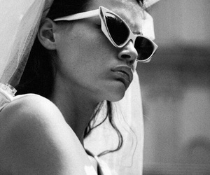 black and white, model, and sunglasses image
