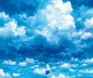 clouds, anime, and blue image
