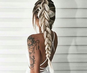 hair, tattoo, and hairstyle image