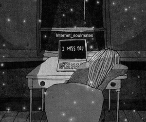 alone, bff, and computer image