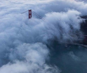 clouds, bridge, and sky image