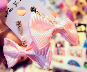 bow, pink, and earrings image