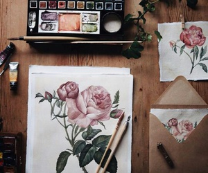 art, rose, and painting image