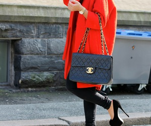 blonde, handbag, and red image