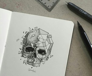 art, drawing, and skull image