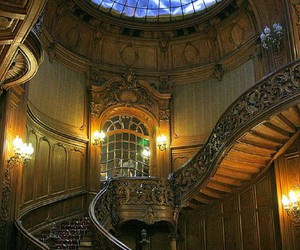castle, romania, and staircase image