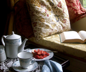 book, strawberry, and tea image