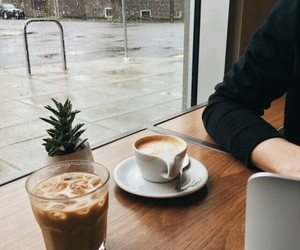 coffee, rain, and aesthetic image