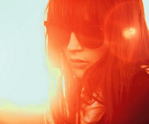 girl, sun, and sunglasses image