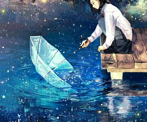 anime, umbrella, and art image