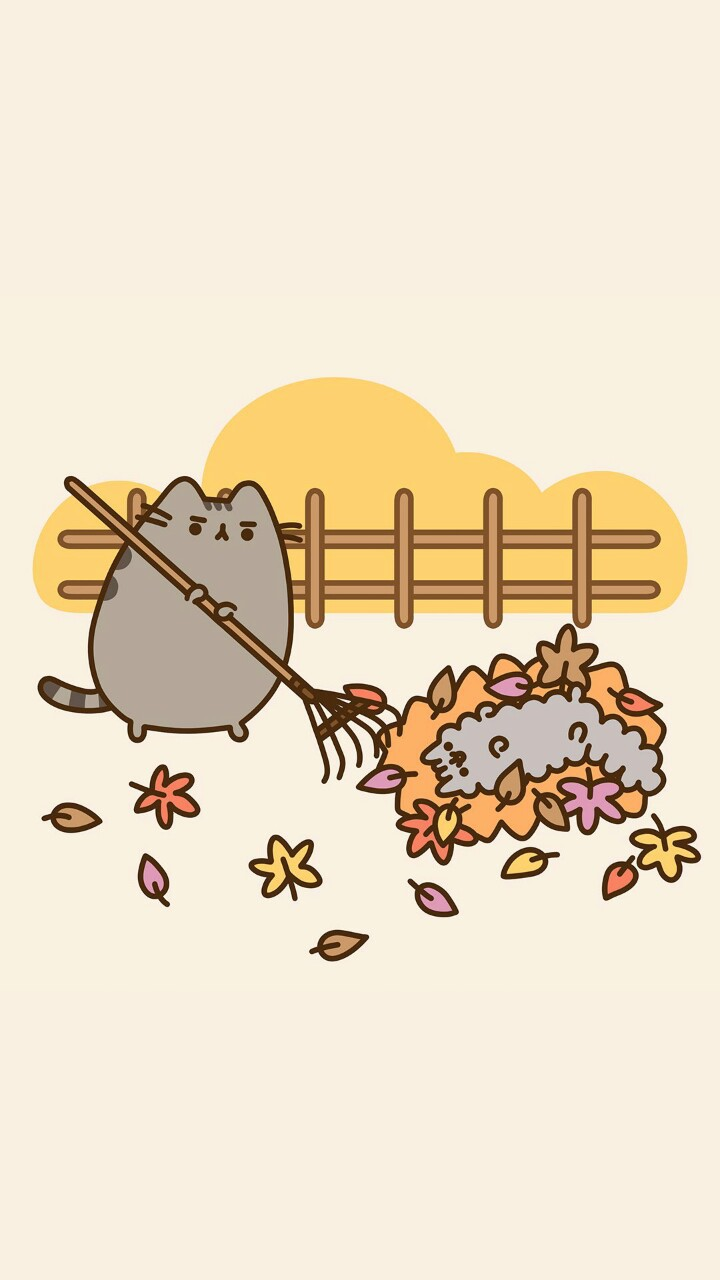 Pusheen Cat Art Autumn Background Beautiful Beauty Cartoon Cats Design Drawing Illustration Iphone Kawaii Kitty Pastel Wallpaper Wallpapers We Heart It Cute Cats Wallpaper Iphone Art Cat Beautiful Art Pastel Color Pastel