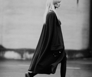 black and white, coat, and fashion image