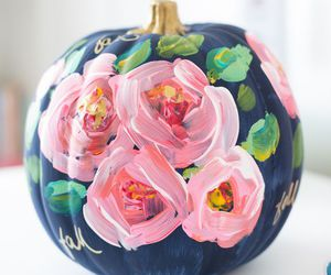 fall, flowers, and pumpkin image