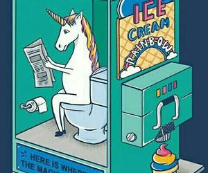 unicorn, ice cream, and rainbow image