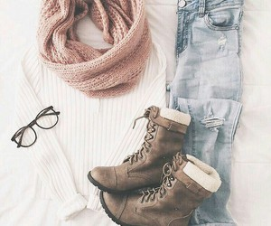 beauty, jeans, and winter image