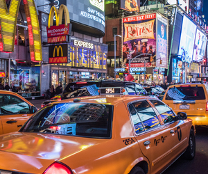 cab, nyc, and yellow cab image