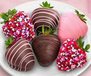 strawberry, chocolate, and pink image