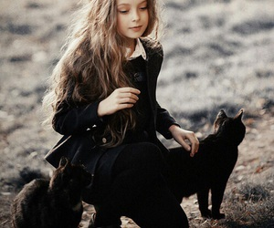 cat, girl, and little girl image
