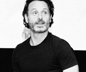 black and white, andrew lincoln, and the walking dead image