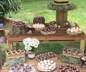 postres, mesas de dulces, and rústico image
