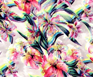 background, floral, and glitch image
