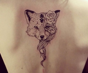 tattoo, fox, and flowers image