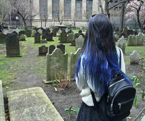 grunge, girl, and blue image
