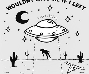 alien, b&w, and ufo image