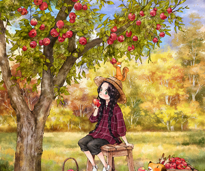 girl, apple, and art image
