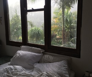bed, green, and bedroom image
