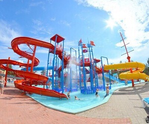 summer, waterpark, and slide image