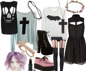 fashion, pastel goth, and black image