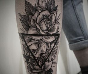 flower tattoo, arm tattoo, and flower image