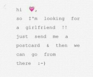 postcard, i want a girlfriend, and single image