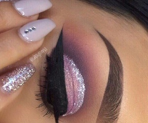 eyebrows, makeup, and pink image