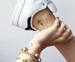 tattoo, heart, and anchor image