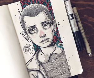 drawing, eleven, and stranger things image