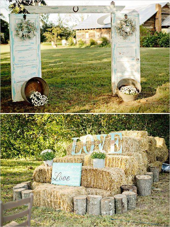 Country Wedding Old Doors With Hay Bales // 10 Rustic Old ...
