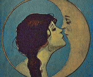 moon, kiss, and art image