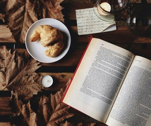 book, autumn, and croissant image