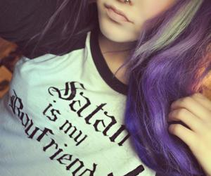girl, purple hair, and make up image