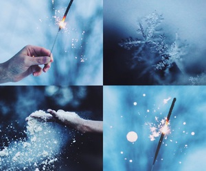 blue, Collage, and snow image